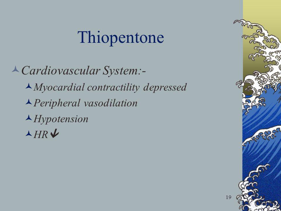 19 Thiopentone Cardiovascular System:- Myocardial contractility depressed Peripheral vasodilation Hypotension HR 