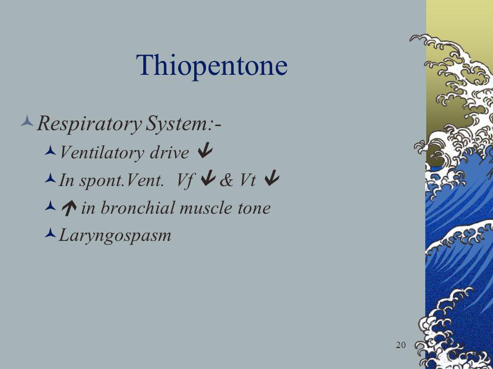 20 Thiopentone Respiratory System:- Ventilatory drive  In spont.Vent. Vf  & Vt   in bronchial muscle tone Laryngospasm