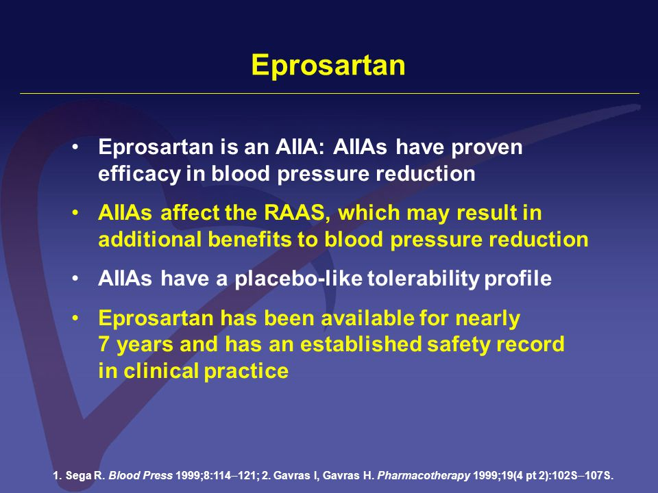 Eprosartan Eprosartan is an AIIA: AIIAs have proven efficacy in blood pressure reduction AIIAs affect the RAAS, which may result in additional benefit