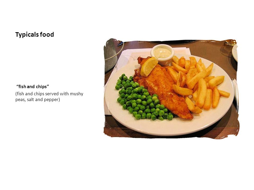 Typicals food fish and chips (fish and chips served with mushy peas, salt and pepper)