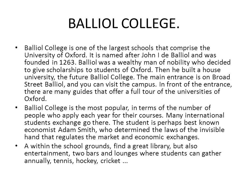 BALLIOL COLLEGE.
