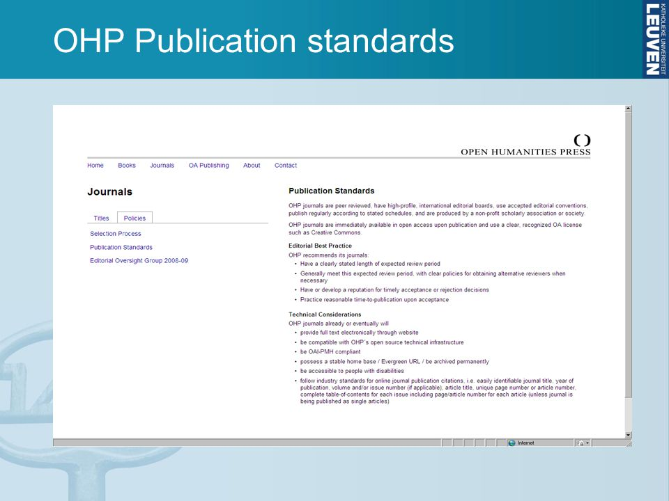 OHP Publication standards