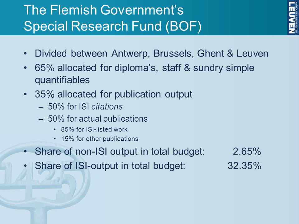 The Flemish Government's Special Research Fund (BOF) Divided between Antwerp, Brussels, Ghent & Leuven 65% allocated for diploma's, staff & sundry simple quantifiables 35% allocated for publication output –50% for ISI citations –50% for actual publications 85% for ISI-listed work 15% for other publications Share of non-ISI output in total budget: 2.65% Share of ISI-output in total budget: 32.35%