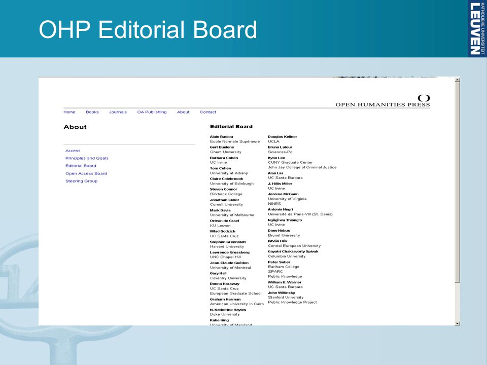 OHP Editorial Board