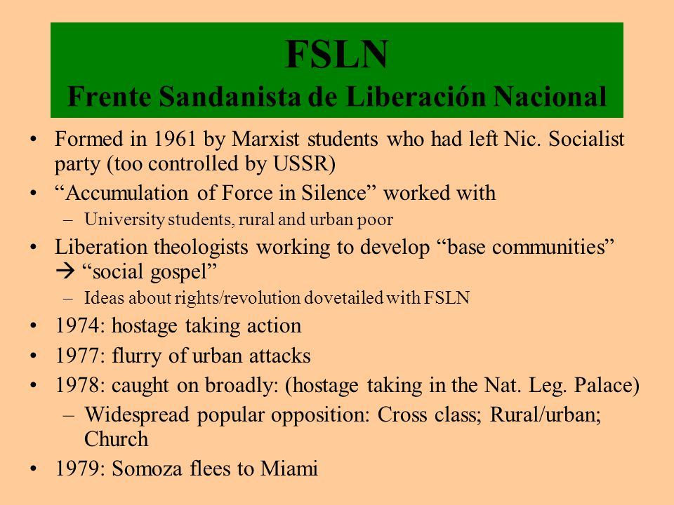 FSLN Frente Sandanista de Liberación Nacional Formed in 1961 by Marxist students who had left Nic.