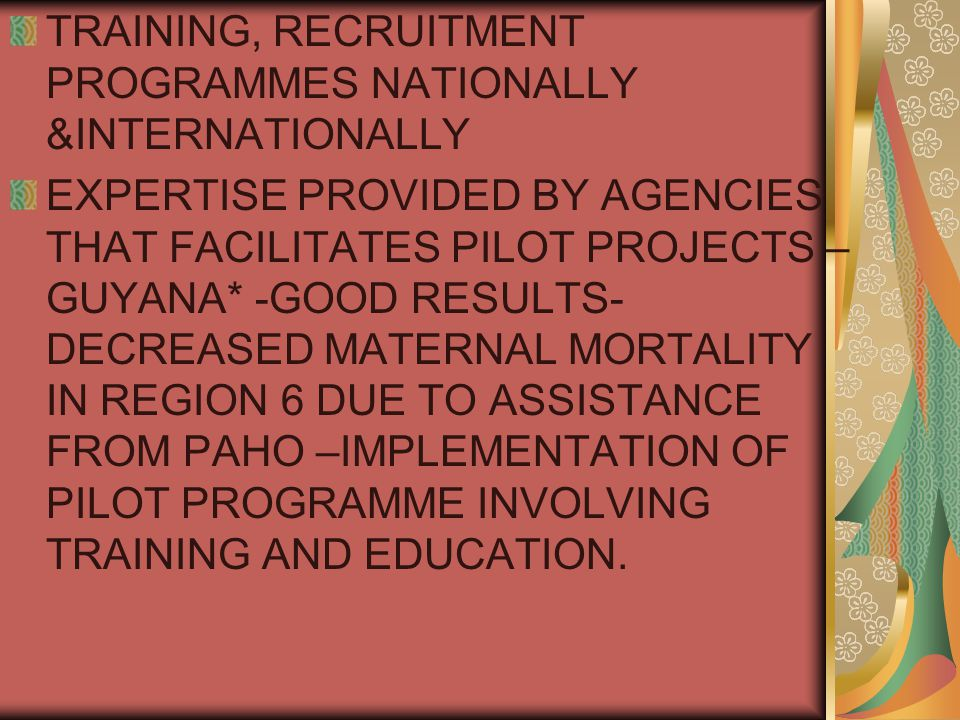 TRAINING, RECRUITMENT PROGRAMMES NATIONALLY &INTERNATIONALLY EXPERTISE PROVIDED BY AGENCIES THAT FACILITATES PILOT PROJECTS – GUYANA* -GOOD RESULTS- DECREASED MATERNAL MORTALITY IN REGION 6 DUE TO ASSISTANCE FROM PAHO –IMPLEMENTATION OF PILOT PROGRAMME INVOLVING TRAINING AND EDUCATION.