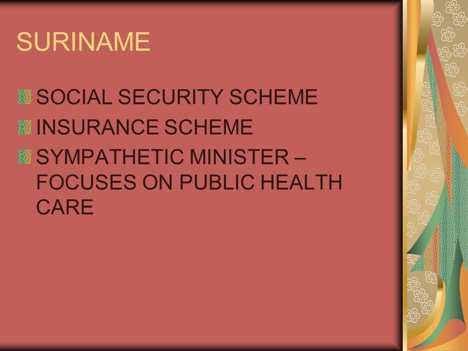 SURINAME SOCIAL SECURITY SCHEME INSURANCE SCHEME SYMPATHETIC MINISTER – FOCUSES ON PUBLIC HEALTH CARE
