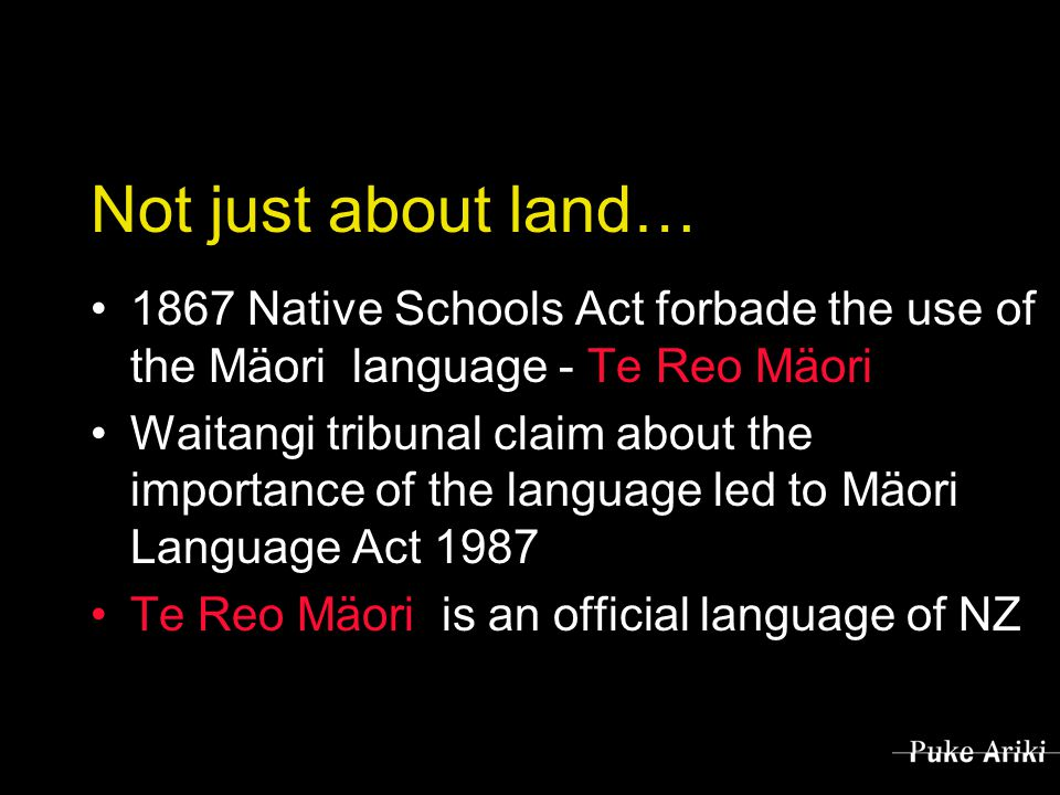 Not just about land… 1867 Native Schools Act forbade the use of the Mäori language - Te Reo Mäori Waitangi tribunal claim about the importance of the language led to Mäori Language Act 1987 Te Reo Mäori is an official language of NZ