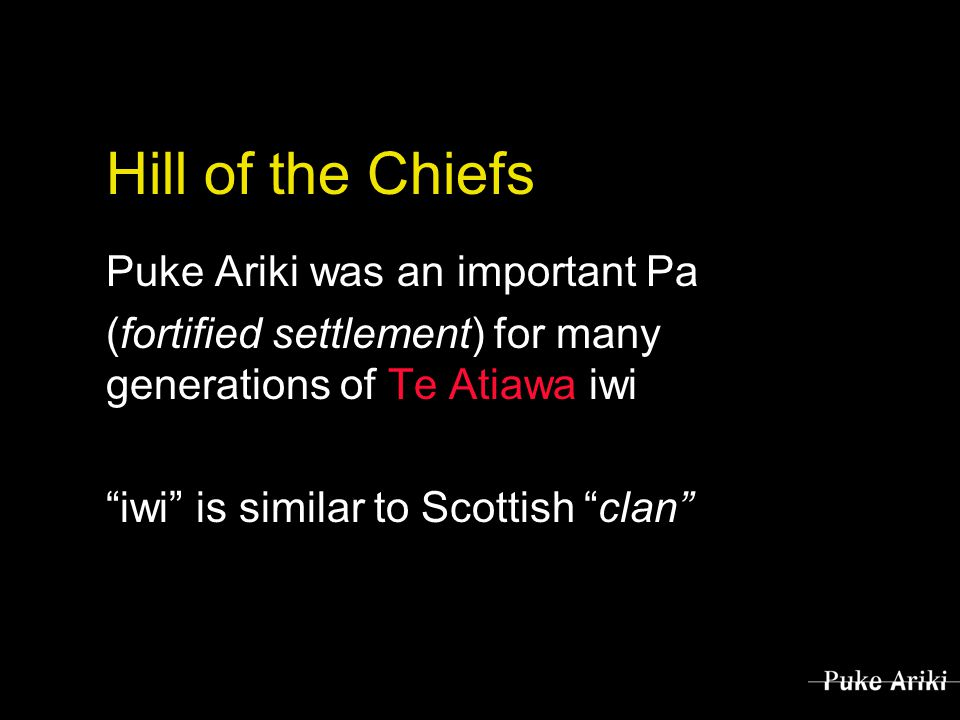Hill of the Chiefs Puke Ariki was an important Pa (fortified settlement) for many generations of Te Atiawa iwi iwi is similar to Scottish clan