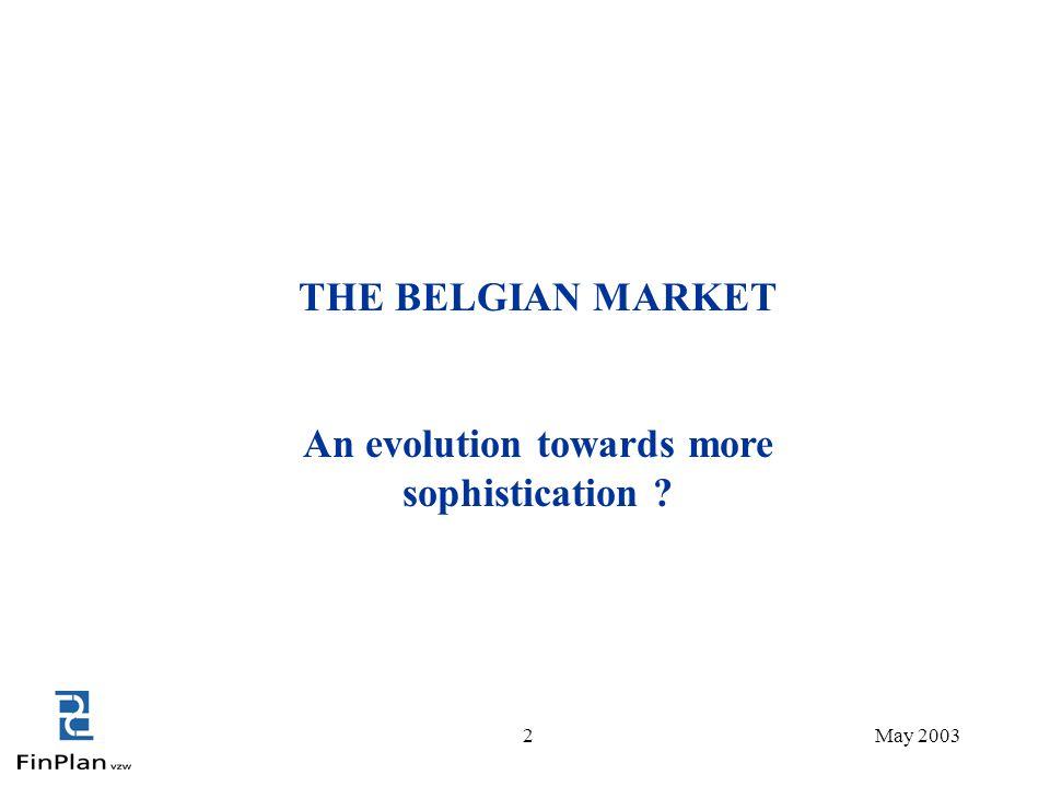 2 THE BELGIAN MARKET An evolution towards more sophistication