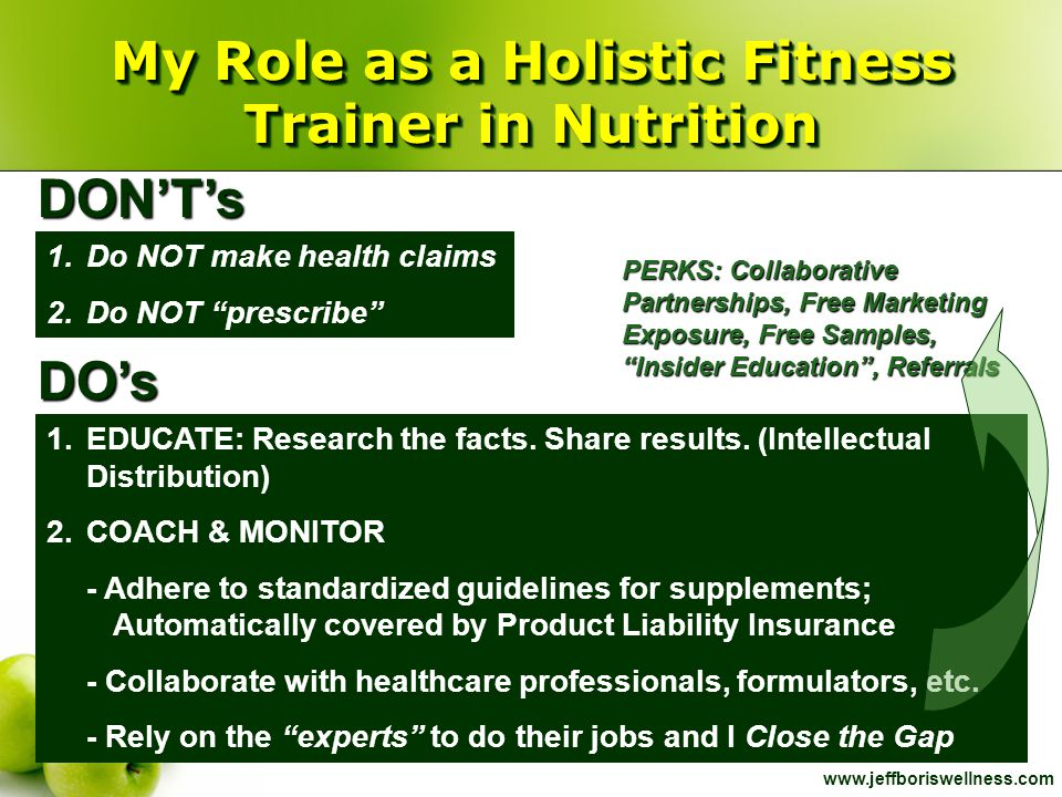 "www.jeffboriswellness.com My Role as a Holistic Fitness Trainer in Nutrition 1.Do NOT make health claims 2.Do NOT ""prescribe"" 1.EDUCATE: Research the"