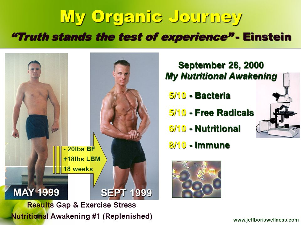 "www.jeffboriswellness.com MAY 1999 SEPT 1999 My Organic Journey ""Truth stands the test of experience"" - Einstein Results Gap & Exercise Stress Nutriti"