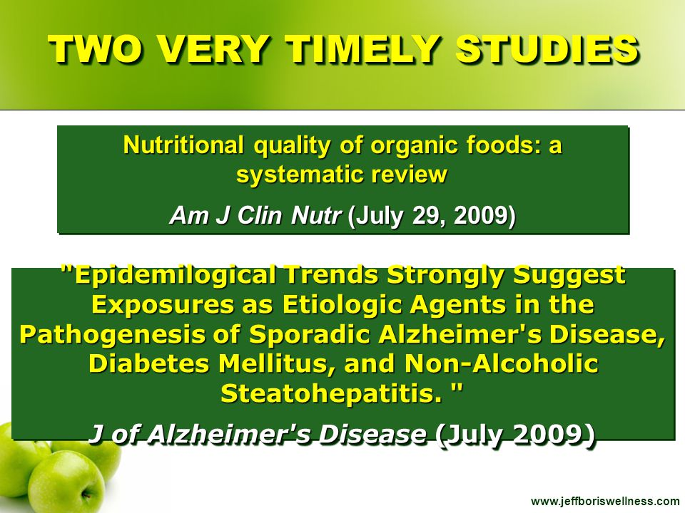 www.jeffboriswellness.com Nutritional quality of organic foods: a systematic review Am J Clin Nutr (July 29, 2009) Nutritional quality of organic food