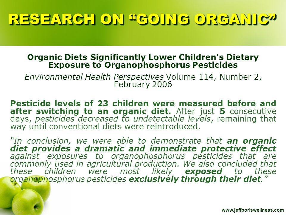 "www.jeffboriswellness.com RESEARCH ON ""GOING ORGANIC"" Organic Diets Significantly Lower Children's Dietary Exposure to Organophosphorus Pesticides Env"