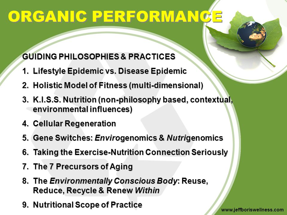 www.jeffboriswellness.com RESEARCH ON GOING ORGANIC Organic Diets Significantly Lower Children s Dietary Exposure to Organophosphorus Pesticides Environmental Health Perspectives Volume 114, Number 2, February 2006 Pesticide levels of 23 children were measured before and after switching to an organic diet.