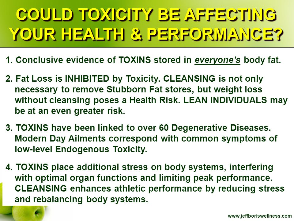 www.jeffboriswellness.com COULD TOXICITY BE AFFECTING YOUR HEALTH & PERFORMANCE? 1. Conclusive evidence of TOXINS stored in everyone's body fat. 2. Fa