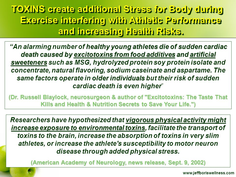 www.jeffboriswellness.com TOXINS create additional Stress for Body during Exercise interfering with Athletic Performance and increasing Health Risks.