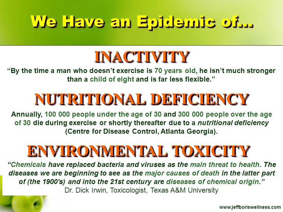 www.jeffboriswellness.com Nutritional quality of organic foods: a systematic review Am J Clin Nutr (July 29, 2009) Nutritional quality of organic foods: a systematic review Am J Clin Nutr (July 29, 2009) Epidemilogical Trends Strongly Suggest Exposures as Etiologic Agents in the Pathogenesis of Sporadic Alzheimer s Disease, Diabetes Mellitus, and Non-Alcoholic Steatohepatitis.