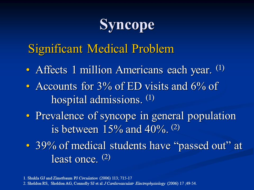 Syncope Affects 1 million Americans each year. (1)Affects 1 million Americans each year. (1) Accounts for 3% of ED visits and 6% of hospital admission