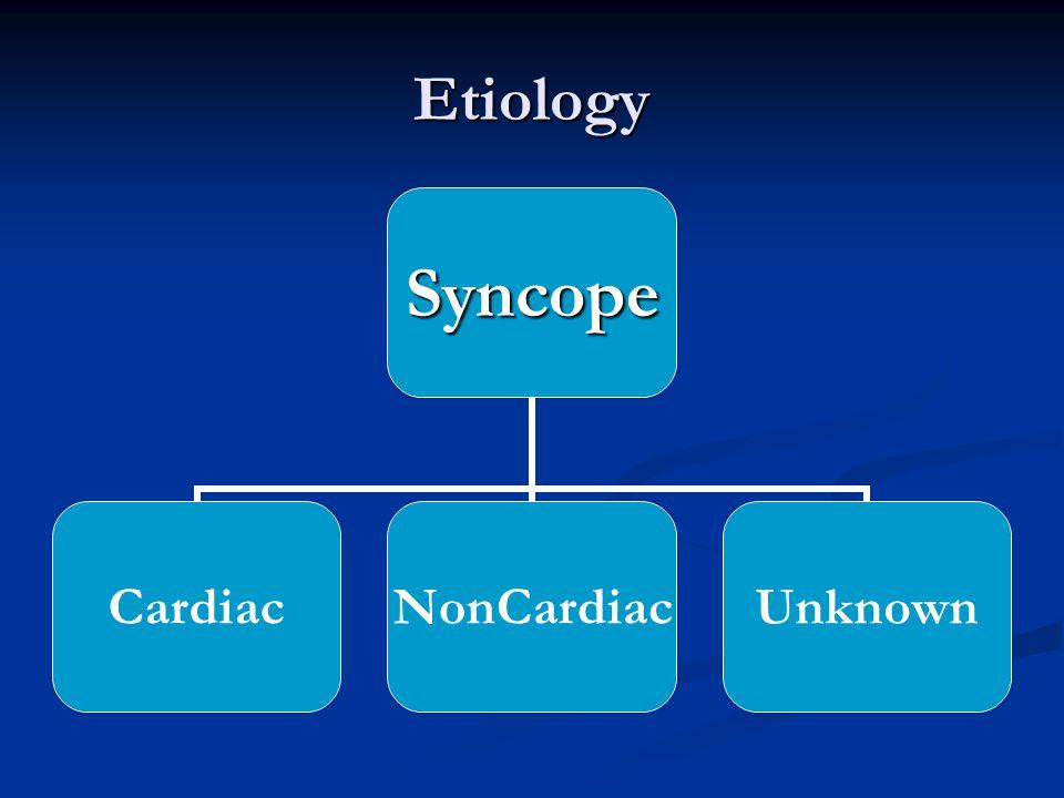 EtiologySyncope CardiacNonCardiacUnknown
