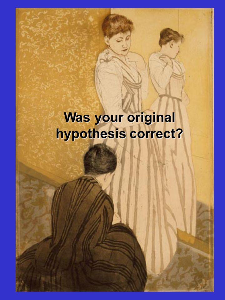 Was your original hypothesis correct