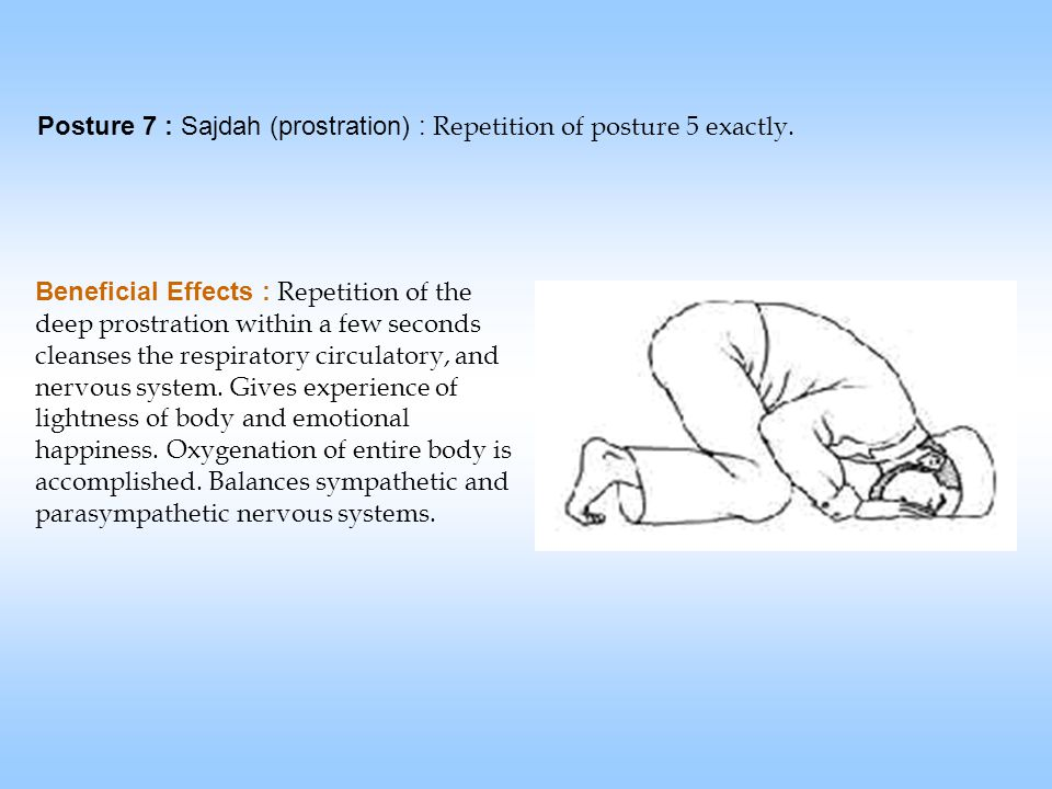 Posture 7 : Sajdah (prostration) : Repetition of posture 5 exactly.