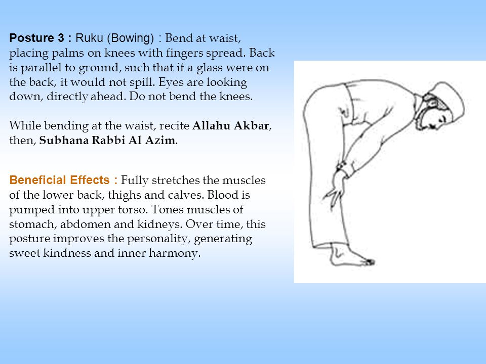 Posture 3 : Ruku (Bowing) : Bend at waist, placing palms on knees with fingers spread.