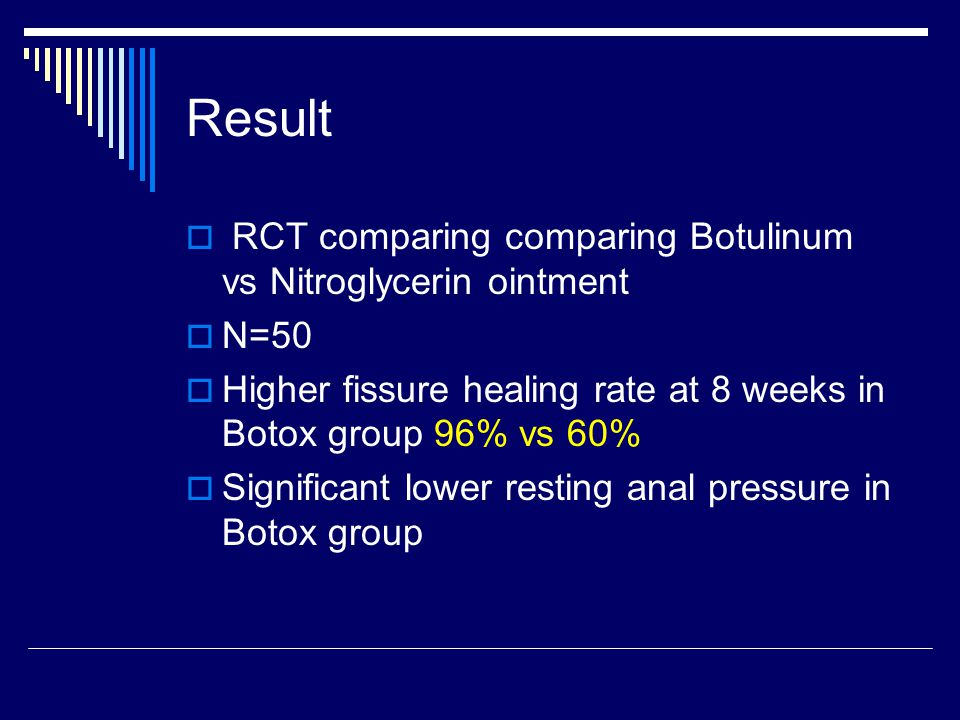 Result  RCT comparing comparing Botulinum vs Nitroglycerin ointment  N=50  Higher fissure healing rate at 8 weeks in Botox group 96% vs 60%  Significant lower resting anal pressure in Botox group