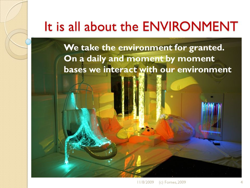 It is all about the ENVIRONMENT We take the environment for granted. On a daily and moment by moment bases we interact with our environment 11/8/20094