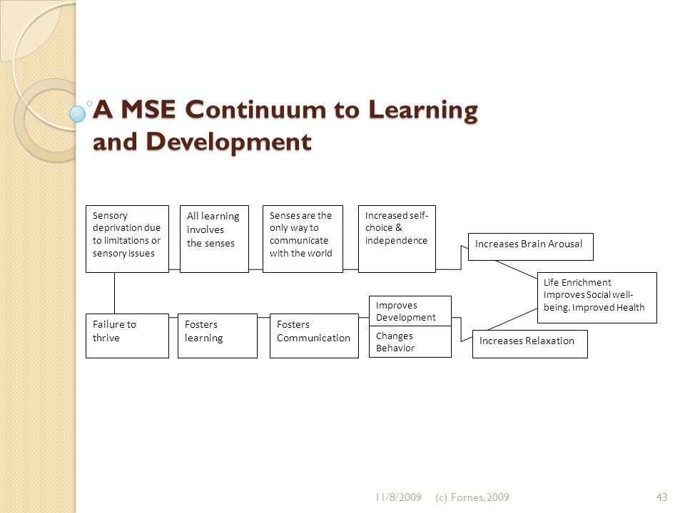 A MSE Continuum to Learning and Development Life Enrichment Improves Social well- being. Improved Health Increases Relaxation Fosters Communication Fo