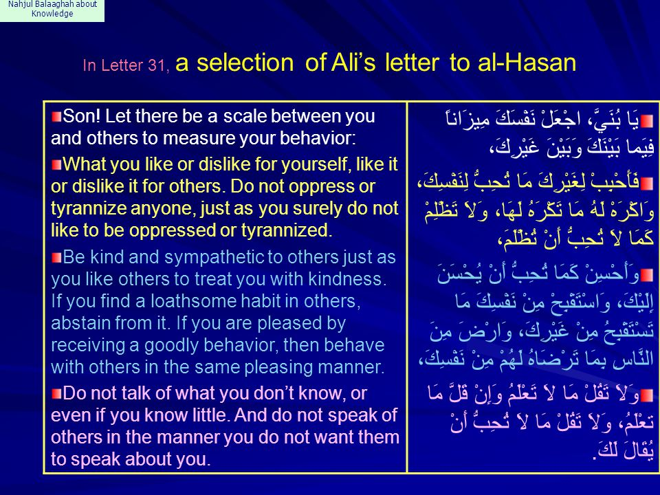 Nahjul Balaaghah about Knowledge In Letter 31, a selection of Ali's letter to al-Hasan Son.