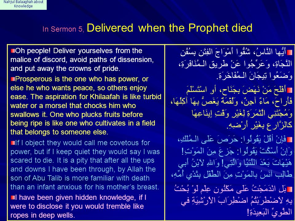Nahjul Balaaghah about Knowledge In Sermon 5, Delivered when the Prophet died Oh people.