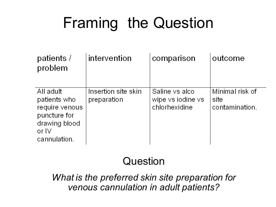 Framing the Question Question What is the preferred skin site preparation for venous cannulation in adult patients?