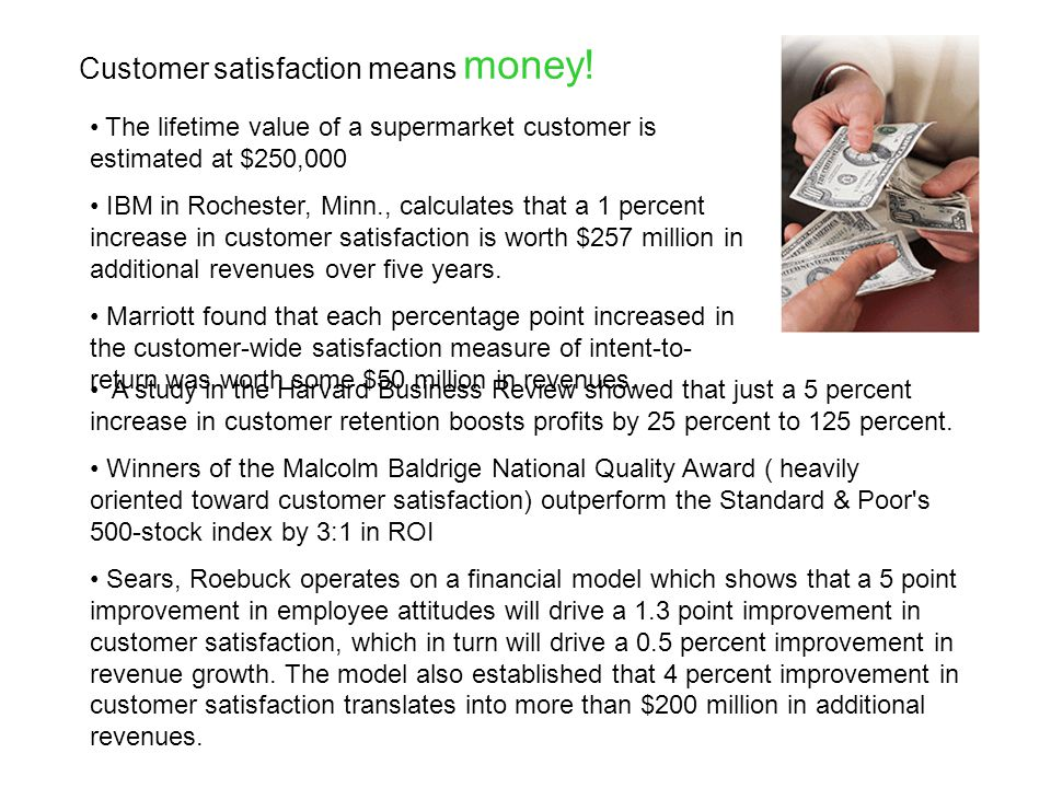 Customer satisfaction means money.