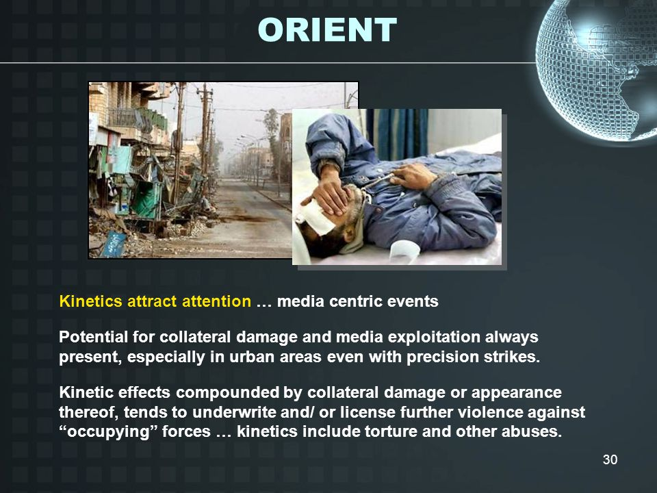 30 Kinetics attract attention … media centric events Potential for collateral damage and media exploitation always present, especially in urban areas even with precision strikes.