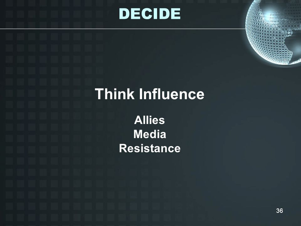 36 Think Influence Allies Media Resistance DECIDE
