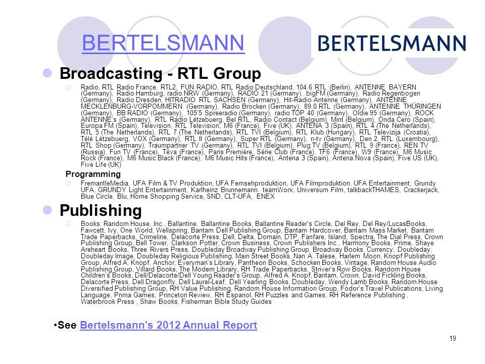 19 Broadcasting - RTL Group  Radio, RTL Radio France, RTL2, FUN RADIO, RTL Radio Deutschland, 104.6 RTL (Berlin), ANTENNE BAYERN (Germany), Radio Ham
