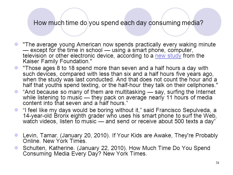 34 How much time do you spend each day consuming media?