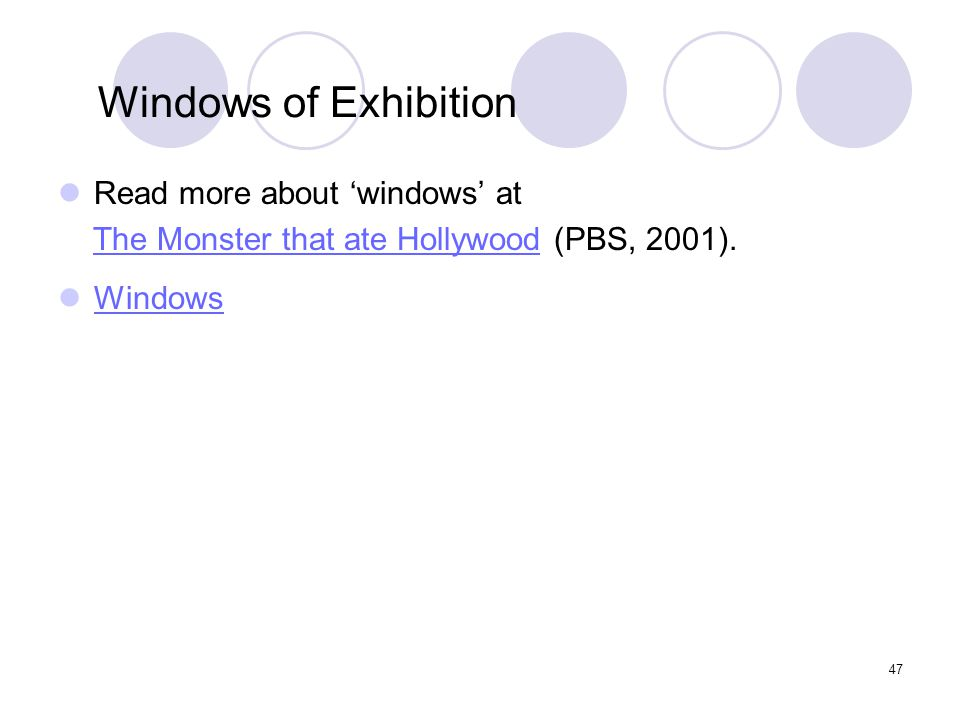 47 Read more about 'windows' at The Monster that ate Hollywood (PBS, 2001). The Monster that ate Hollywood Windows Windows of Exhibition