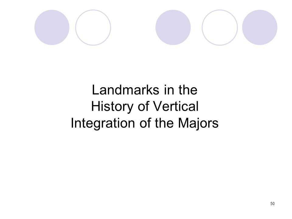 50 Landmarks in the History of Vertical Integration of the Majors