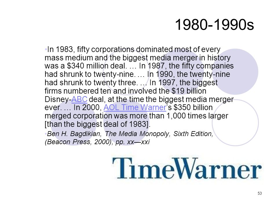 1980-1990s In 1983, fifty corporations dominated most of every mass medium and the biggest media merger in history was a $340 million deal. … In 1987,