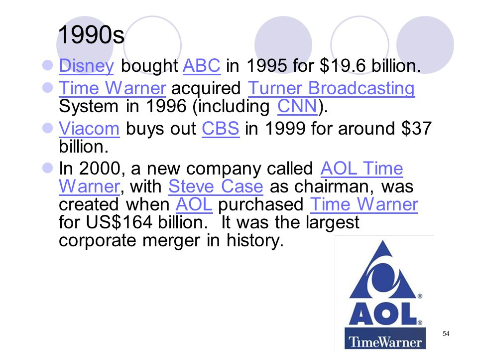 54 1990s Disney bought ABC in 1995 for $19.6 billion. DisneyABC Time Warner acquired Turner Broadcasting System in 1996 (including CNN). Time WarnerTu