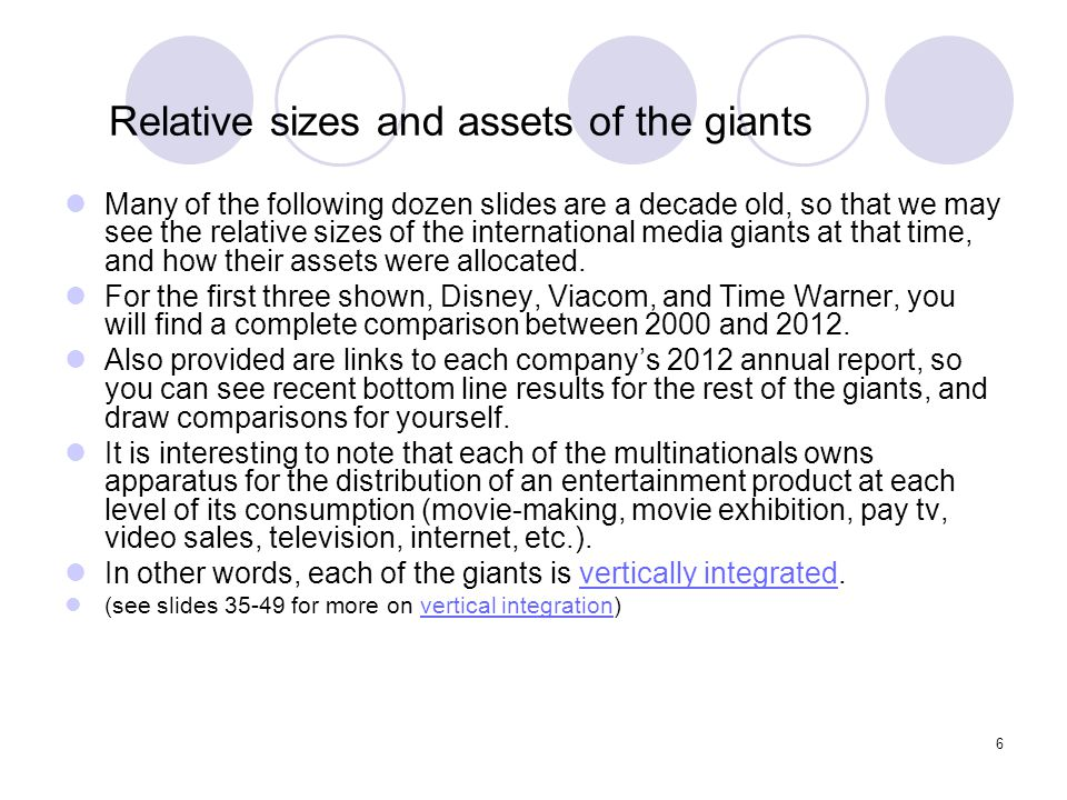 6 Relative sizes and assets of the giants Many of the following dozen slides are a decade old, so that we may see the relative sizes of the internatio