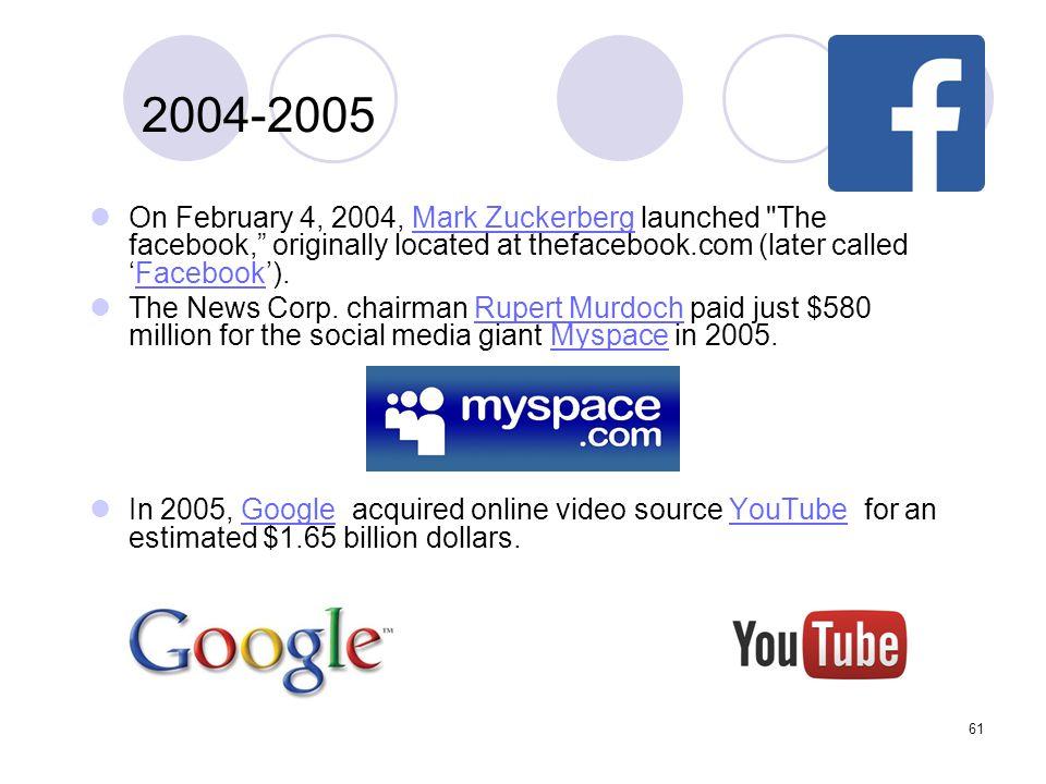 61 2004-2005 On February 4, 2004, Mark Zuckerberg launched