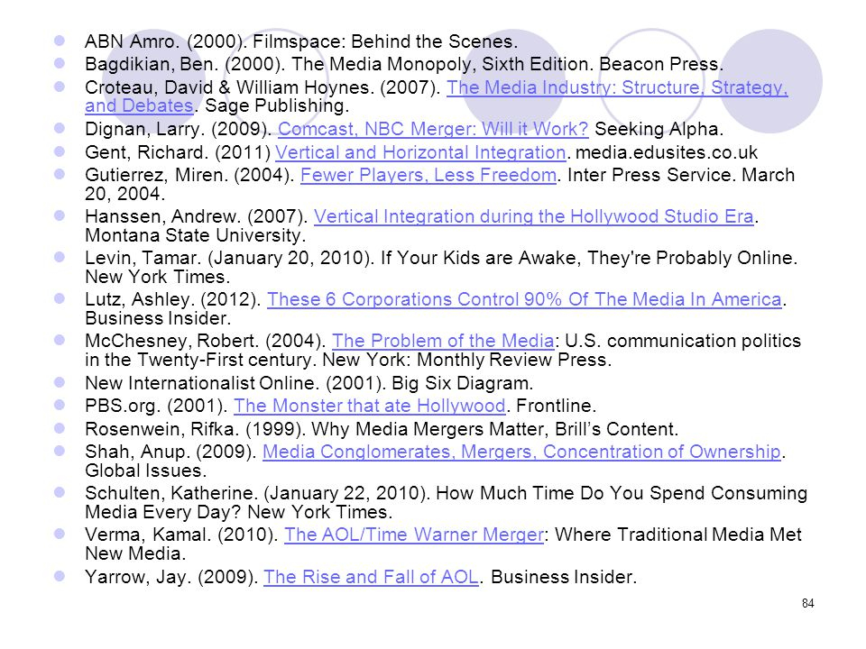 84 ABN Amro. (2000). Filmspace: Behind the Scenes. Bagdikian, Ben. (2000). The Media Monopoly, Sixth Edition. Beacon Press. Croteau, David & William H