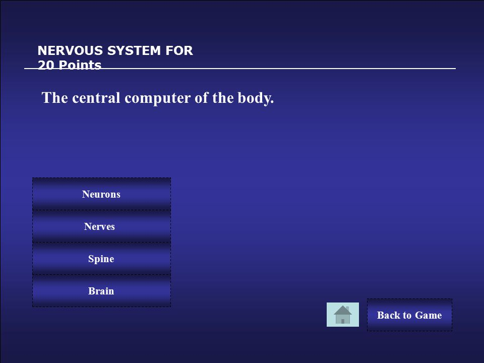 Congratulations! NERVOUS SYSTEM FOR 10 Points You Win 10 Points! Back to Game