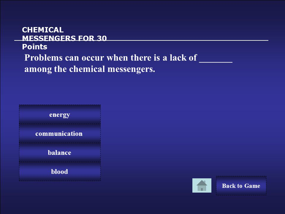 Congratulations! CHEMICAL MESSENGERS FOR 20 Points You Win 20 Points! Back to Game