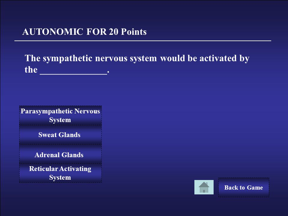 Congratulations! AUTONOMIC FOR 10 Points You Win 10 Points! Back to Game