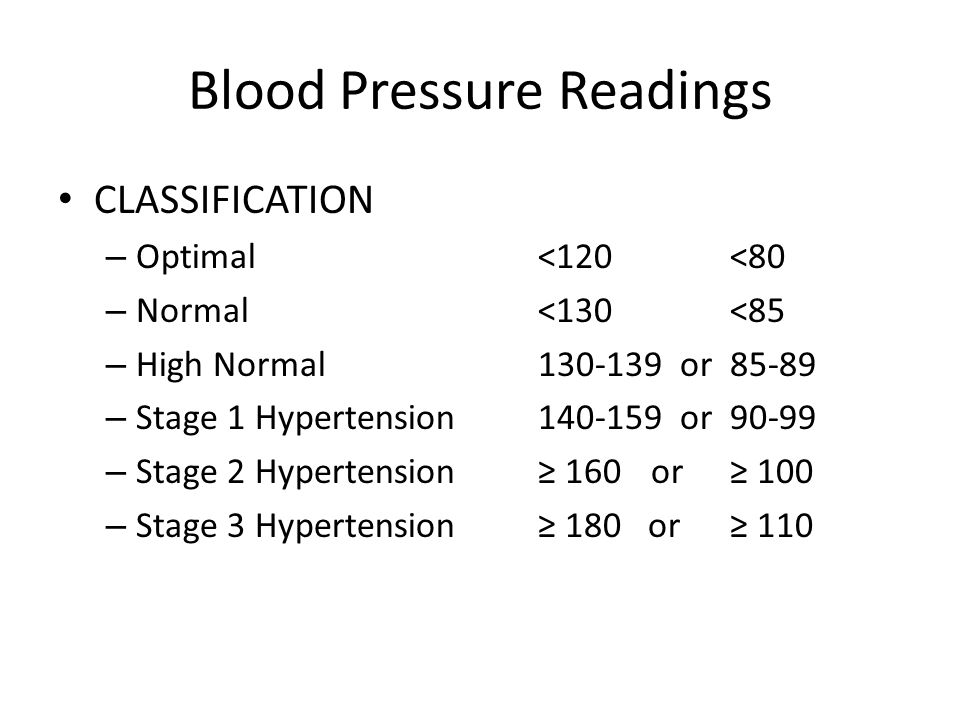 Blood Pressure Readings CLASSIFICATION – Optimal <120 <80 – Normal <130 <85 – High Normal130-139 or85-89 – Stage 1 Hypertension 140-159 or90-99 – Stage 2 Hypertension≥ 160 or≥ 100 – Stage 3 Hypertension≥ 180 or≥ 110