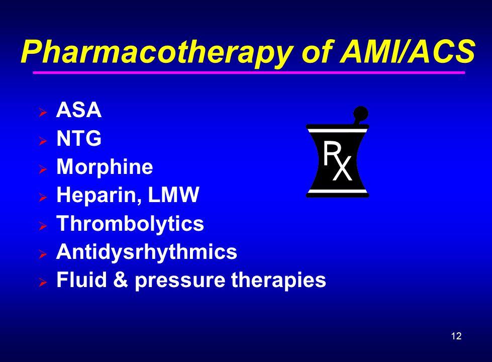 12 Pharmacotherapy of AMI/ACS  ASA  NTG  Morphine  Heparin, LMW  Thrombolytics  Antidysrhythmics  Fluid & pressure therapies